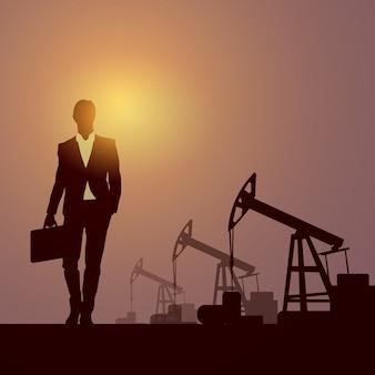 Banner de plataforma de guindaste de plataforma de petróleo pumpjack de homem de negócios