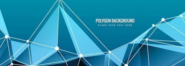 Banner de polígono azul abstrato