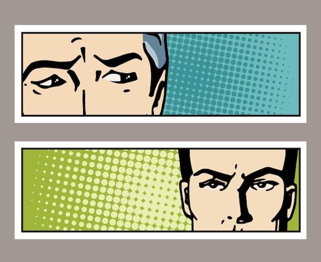 Banner de pop art com olhos masculinos e espaço em branco para texto. olhos de homem de desenho animado. pôster de propaganda vintage
