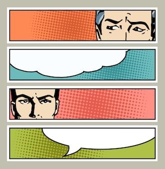 Banner de pop art com olhos masculinos e espaço em branco para texto. olhos de homem dos desenhos animados com bolha do discurso. cartaz de propaganda vintage. ilustração em quadrinhos desenhada à mão.