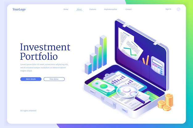 Banner de portfólio de investimento com pasta