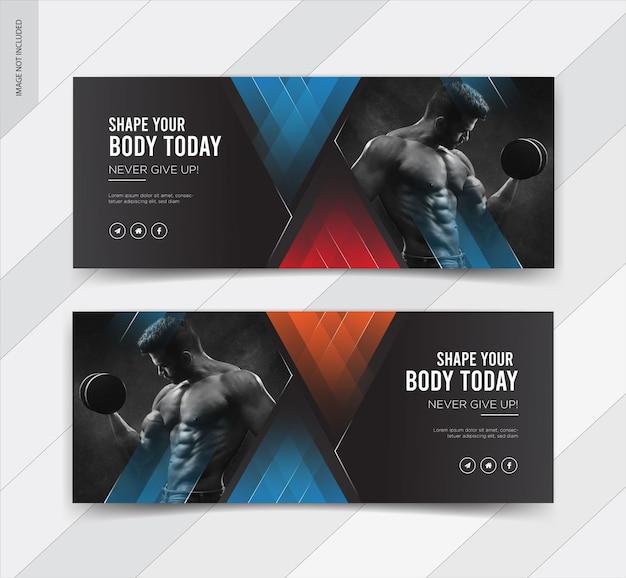 Banner de postagem de capa de fitness no facebook