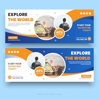 Banner de postagem de férias de férias de viagens