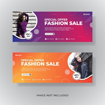 Banner de postagem de mídia social de capa de facebook para venda de moda