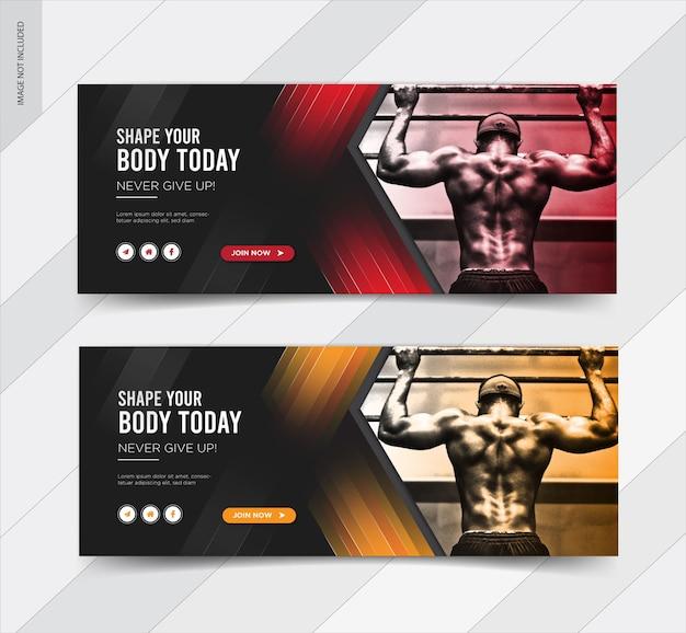 Banner de postagem de mídia social de capa de fitness no facebook