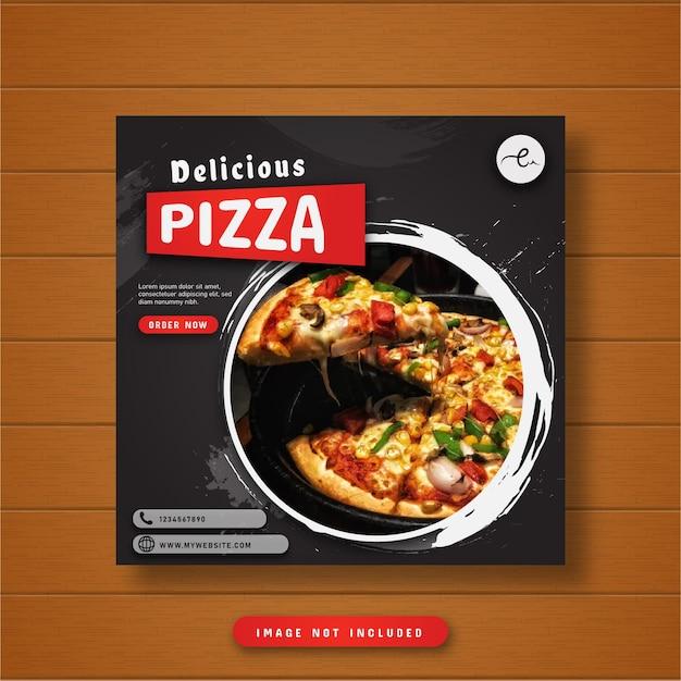 Banner de postagem de pizza deliciosa nas mídias sociais