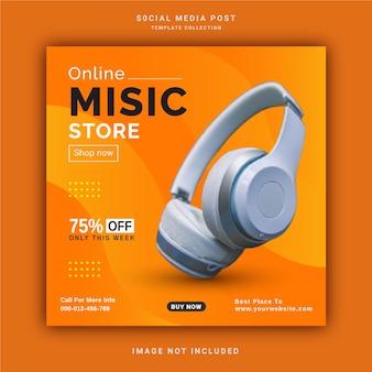 Banner de postagem do instagram para loja de música sem fio online modelo de postagem de mídia social