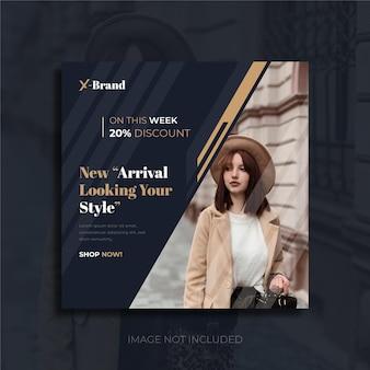 Banner de postagem em mídia social de chegada de venda de moda