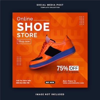 Banner de postagem no instagram para loja de sapatos online modelo de postagem em mídia social