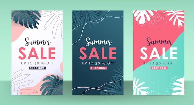 Banner de pôster colorido com layout de venda de verão