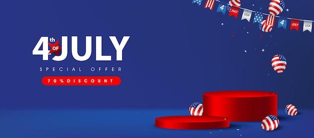 Banner de pôster de venda dos eua do dia da independência com exibição de produto em formato cilíndrico e balões americanos