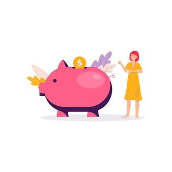Banner de poupança de dinheiro do cofrinho - mulher dos desenhos animados em pé perto do brinquedo gigante do porco rosa e colocando a moeda de ouro. finanças pessoais -