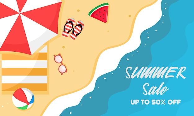 Banner de praia de verão com vista superior
