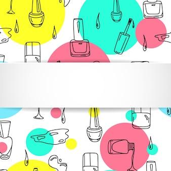Banner de prego com padrão de manicure doodle.