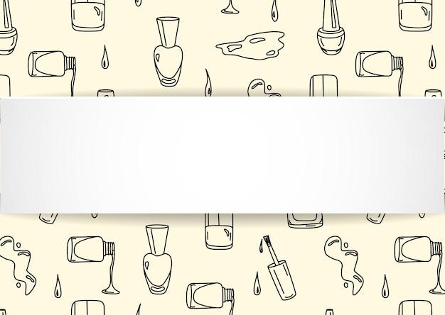 Banner de prego com padrão sem emenda de manicure doodle.
