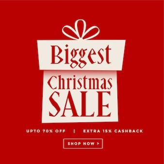 Banner de presente vermelho de venda de natal