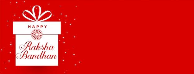Banner de presente vermelho raksha bandhan com espaço de texto