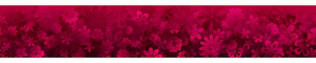 Banner de primavera com várias flores em cores carmesim com repetição horizontal perfeita