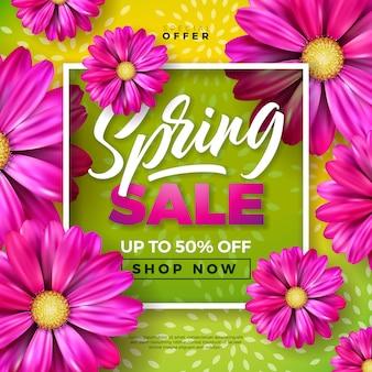 Banner de primavera modelo de design floral com letra de tipografia