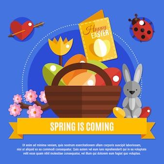 Banner de primavera páscoa plana