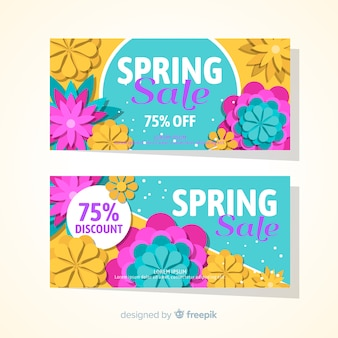 Banner de primavera plana