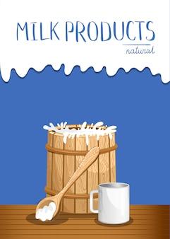 Banner de produtos lácteos com barril de madeira de leite