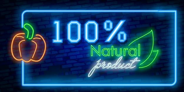 Banner de produtos naturais de néon