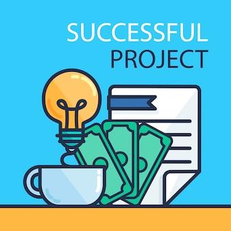 Banner de projeto bem-sucedido