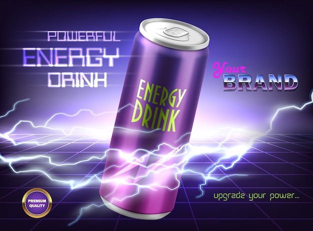 Banner de promoção de bebida energética poderosa. lata de alumínio com tônico gaseificado, refrigerante, alcool
