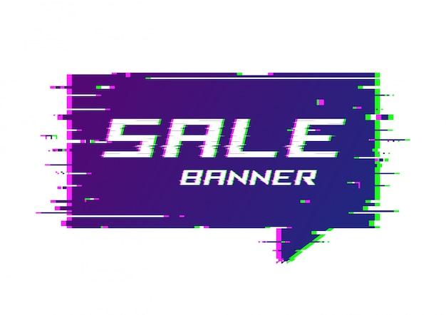 Banner de promoção de estilo distorcido falha, etiqueta de preço, speec