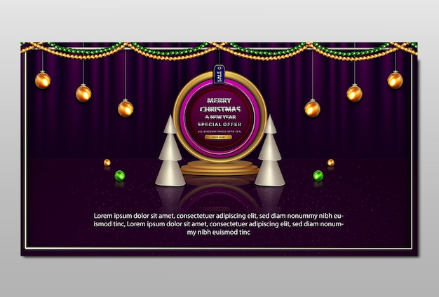 Banner de promoção de feliz natal e ano novo de luxo