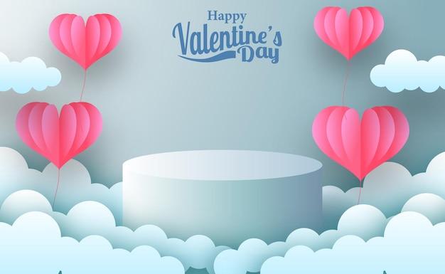Banner de promoção de marketing de cartão comemorativo para o dia dos namorados com display de produto no palco vazio com estilo de corte de papel de ilustração de lareira rosa e fundo azul pastel