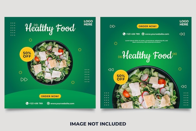 Banner de promoção de mídia social de legumes e modelo de design de postagem no instagram