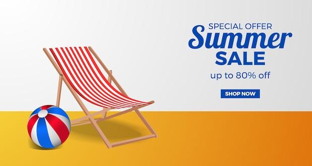 Banner de promoção de oferta de liquidação de verão com cadeira relax e bola