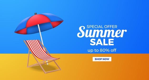 Banner de promoção de oferta de liquidação de verão com cadeira relaxante e guarda-chuva