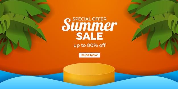 Banner de promoção de oferta de liquidação de verão com display cilíndrico e folhas tropicais verdes