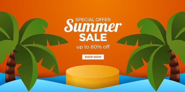 Banner de promoção de oferta de liquidação de verão com display de pódio de cilindro e palmeira de coco