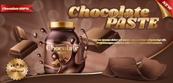 Banner de promoção de pasta de chocolate ou manteiga de noz em frasco de plástico