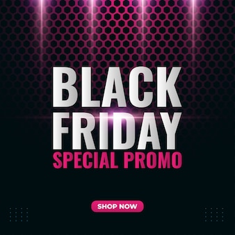 Banner de promoção de venda black friday com fundo de conceito de hexágono e luzes brilhantes