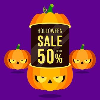 Banner de promoção de venda de feliz dia das bruxas e design de modelo de desconto especial decorativo com abóboras isoladas em fundo roxo
