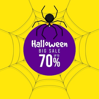 Banner de promoção de venda de feliz dia das bruxas e design de modelo de desconto especial decorativo com aranha isolada sobre fundo verde