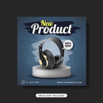 Banner de promoção de venda de fone de ouvido modelo de postagem de mídia social