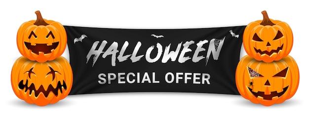 Banner de promoção de venda de halloween com abóbora, morcegos e bandeira preta.