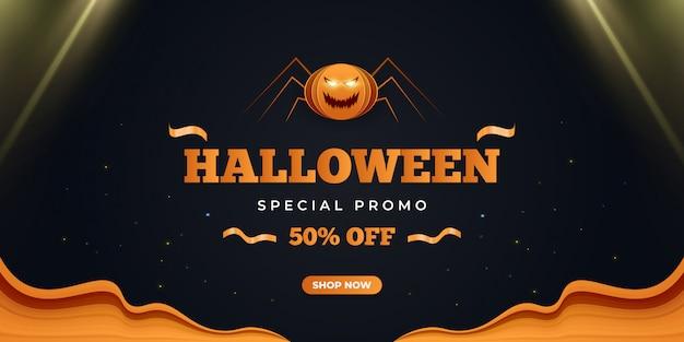 Banner de promoção de venda de halloween com aranhas assustadoras e luzes brilhantes.