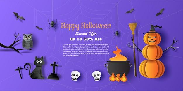 Banner de promoção de venda de halloween com oferta de desconto em ocasiões especiais.