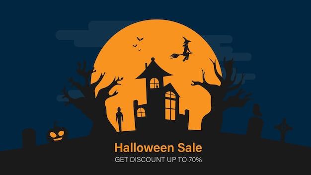 Banner de promoção de venda de halloween para site