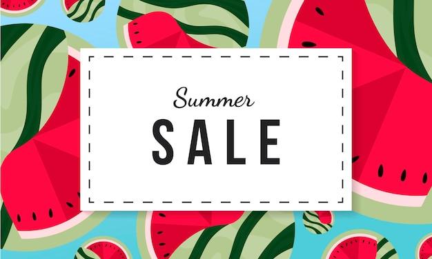 Banner de promoção de venda de verão com fundo de melancia. fundo abstrato da fruta.