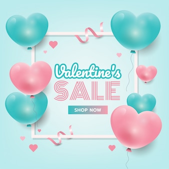 Banner de promoção de venda dos namorados com corações 3d, site banner, panfleto. ilustração vetorial