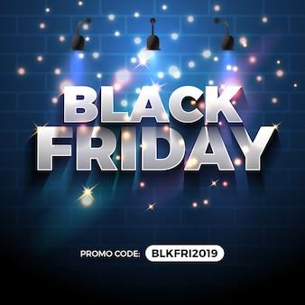 Banner de promoção de venda sexta-feira negra com campo de código promocional.