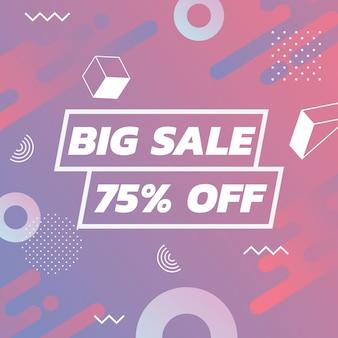 Banner de promoção de vendas com estilo de design de memphis